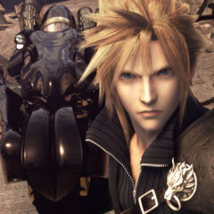 Cloud and Fenrir in <i>Advent Children</i>.