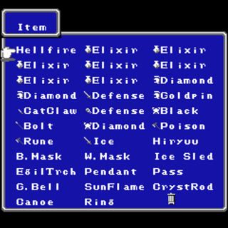Item menu in the NES version.