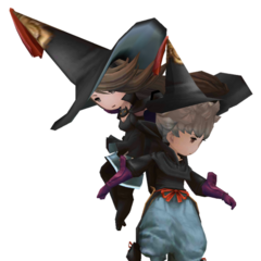 Tiz and Agnès as Black Mages in <i><a href=