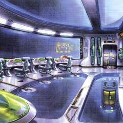 Colored concept art of the control room.
