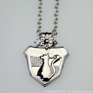 Merchandise of Snow's necklace, featuring the NORA cat.
