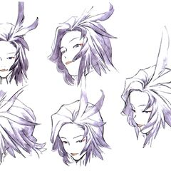 Concept art of Kuja's facial expressions.