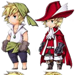 Ingus as Thief, Red Mage, Monk and a White Mage.
