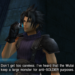 Zack talking to Angeal in <i>Crisis Core</i>.