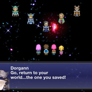 Dorgann talking to the Warriors of Light in the ending.