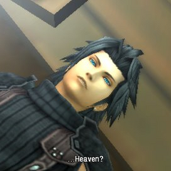 Zack waking up in Sector 5 Church in <i>Crisis Core</i>.