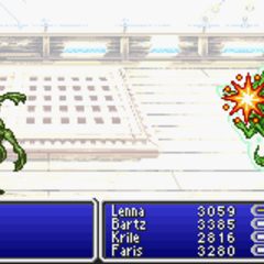 Carbuncle summoned into battle (GBA).