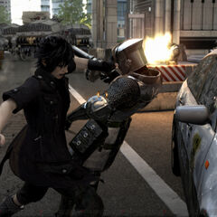 A police car seen in the <i>Final Fantasy XV</i> E3 2013 trailer.