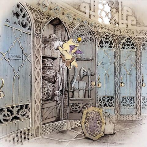 An illustration of Moogle using the Mog Locker in Aht Urhgan.