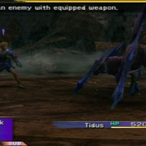 Tidus, initially fighting alone.