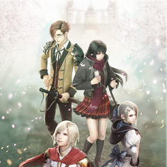 Miyu with the principle characters of <i>Final Fantasy Agito</i>.