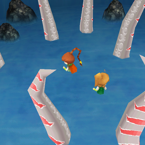 Cooler Leeches surround the party in the iOS version.