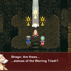 The Warring Triad statues in the Esper Caves (iOS/Android/PC).