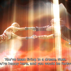 Noel being pulled toward a light in the sky, presumed to be Etro's gate.