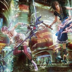 A promotional poster featuring Serah and Noel in Academia 400 AF.