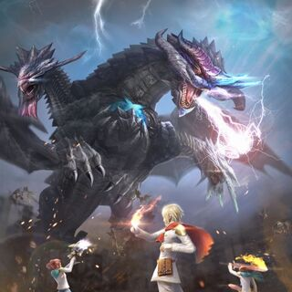 Cadets with Ace fighting Shinryu Celestia in promotional artwork for <i>Final Fantasy Agito+</i>.