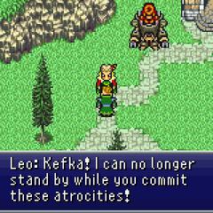 General Leo standing up against Kefka.