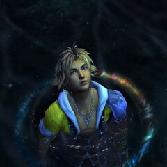 Tidus swims in the pond in Macalania.