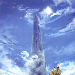 Akira Oguro artwork of the assault on Babil for the DS release of <i>Final Fantasy IV</i>.