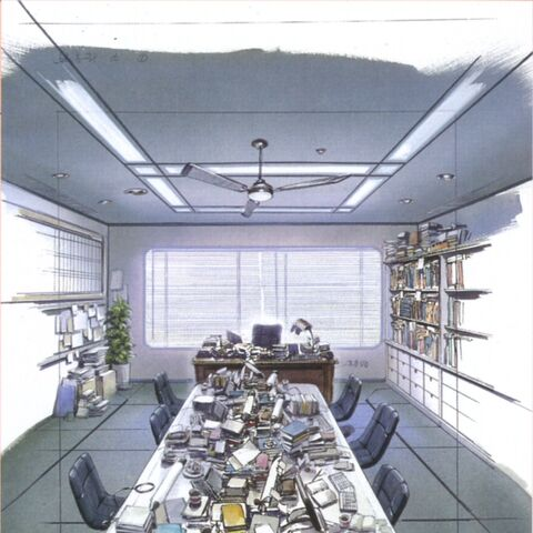 Concept art of the Timber Maniacs office.