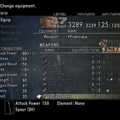 Zodiac Spear's stats in <i>Final Fantasy XII</i>.