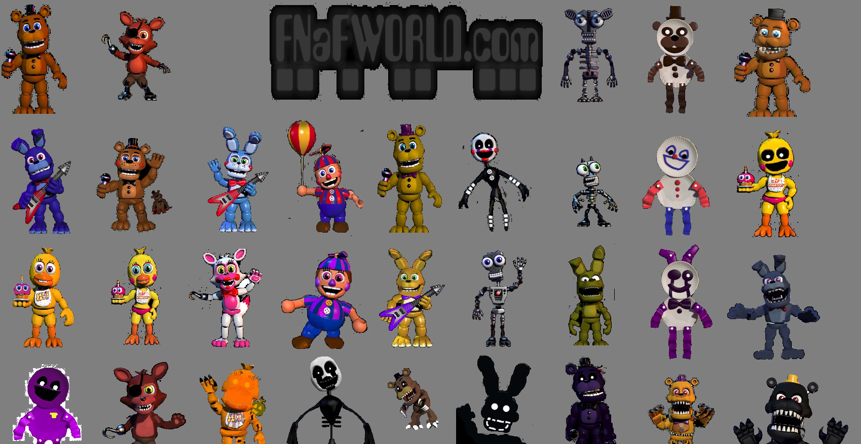 5 nights at freddys character list
