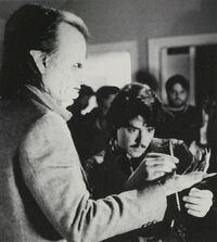 Fright Night 1985 Chris Sarandon and Steve Johnson with Pencil