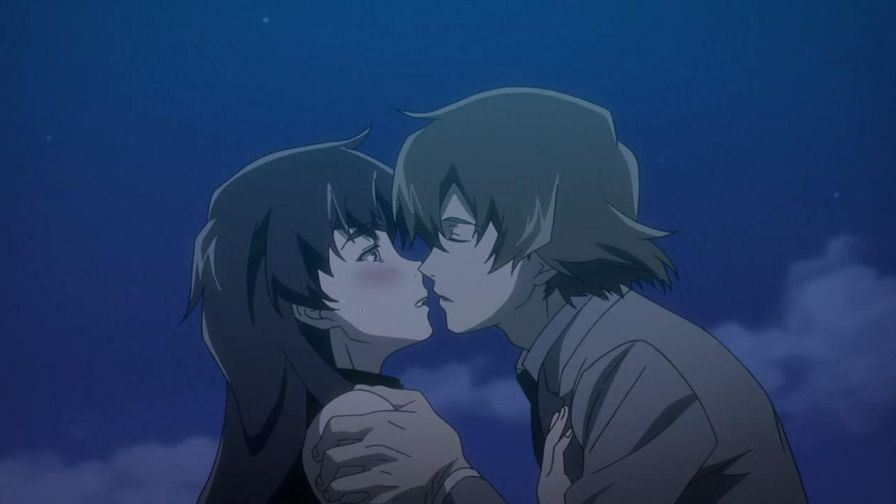 Nishijima leans in to kiss Uryuu Minene And Nishijima