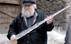 GRRM with White Walker ice-blade