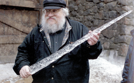 GRRM with White Walker ice-blade.png
