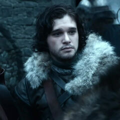 Jon says goodbye to Robb as he leaves to take the black in