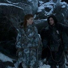 Jon keeps Ygritte on a short leash in