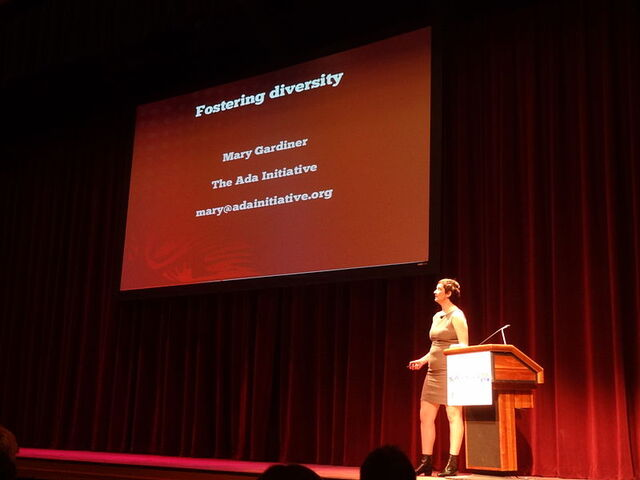 File:800px-Mary Gardiner; opening keynotes, 'Fostering diversity - not a boring chore, a critical opportunity'; Wikimania 2012.JPG