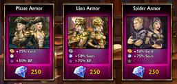 250 gems armors