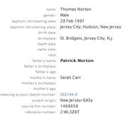Norton-Thomas 1891 birth index