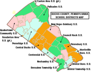 Map of Bucks County Pennsylvania School Districts