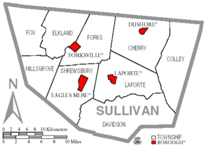 Map of Sullivan County Pennsylvania with Municipal and Township Labels