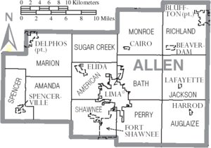 Map of Allen County Ohio With Municipal and Township Labels