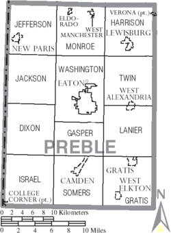 Map of Preble County Ohio With Municipal and Township Labels