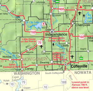 Map of Montgomery Co, Ks, USA