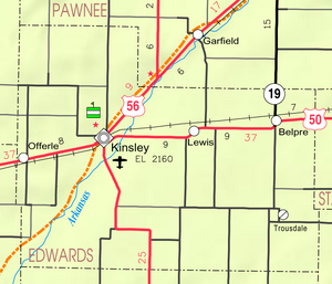 Map of Edwards Co, Ks, USA