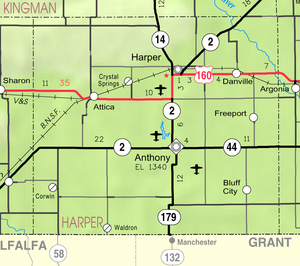 Map of Harper Co, Ks, USA