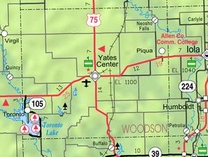 Map of Woodson Co, Ks, USA