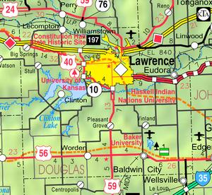 Map of Douglas Co, Ks, USA