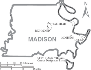 Map of Madison Parish Louisiana With Municipal Labels
