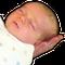 3 week old swaddled infant