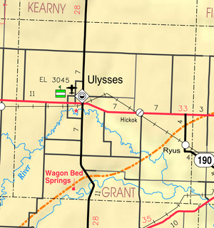 Map of Grant Co, Ks, USA