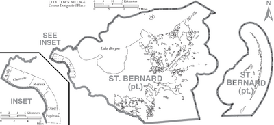 Map of St. Bernard Parish Louisiana With Municipal Labels