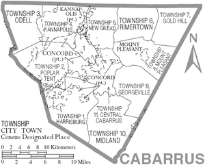 Map of Cabarrus County North Carolina With Municipal and Township Labels