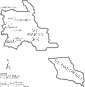 Map of St. Martin Parish Louisiana With Municipal Labels